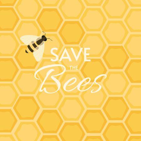 Save The Bees Design. Postcard or poster motive. Иллюстрация
