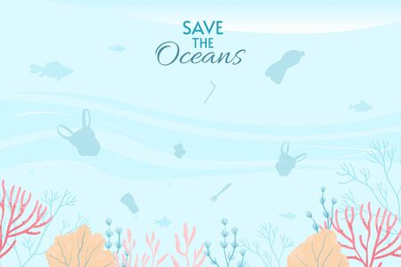 World Oceans Day Card Vector illustration. Help protect, and conserve world oceans, water, ecosystem.