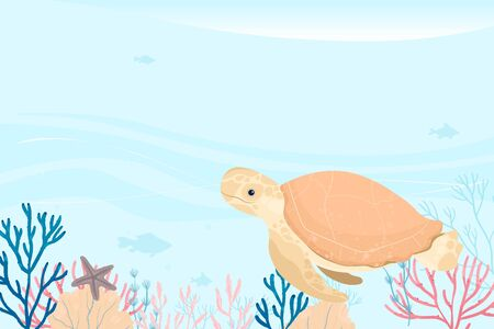 Landscape of marine life. Ocean and underwater world with different animals and plants. Ilustração