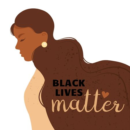 Stop racism. Black lives matter, we are equal. Woman. No racism concept. Flat style. Different skin colors. Supporting illustration. Vector.