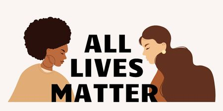Stop racism. Black lives matter, we are equal. No racism concept. Flat style. Different skin colors. Supporting illustration. Vector. Illusztráció