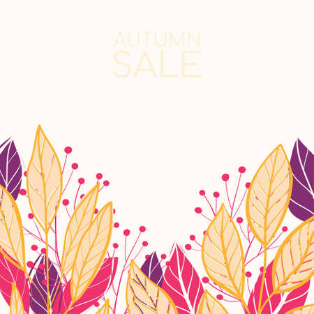 Beautiful colourful autumn leaves . Vector flat illustration