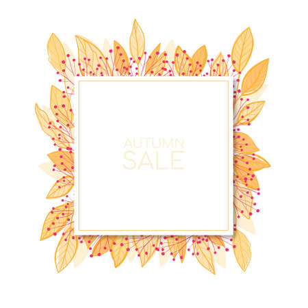 Beautiful colourful autumn leaves frame . Vector flat illustration