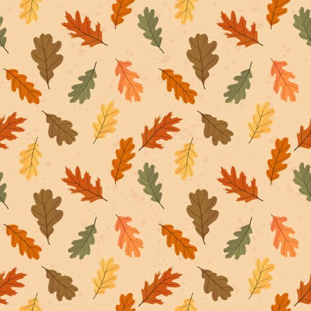 Autumn seamless pattern of colorful leaves. Vector illustration.