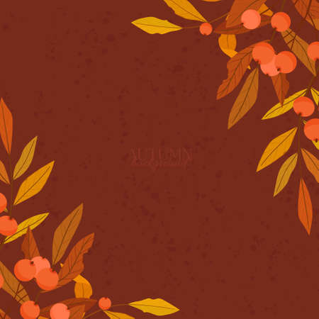 Autumn frame of colorful leaves. Vector illustration.