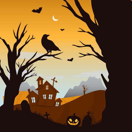 Creepy happy halloween party invitation background. Flat vector.