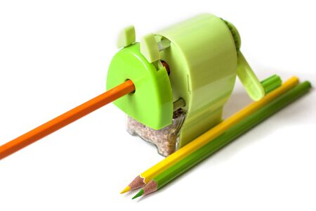 light green pencil sharpener on a white background