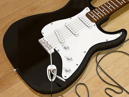 close up: black guitar close up