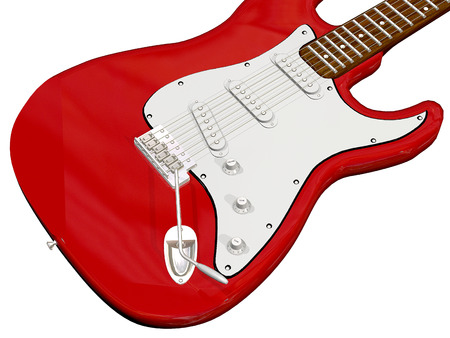 close up red guitar with white background