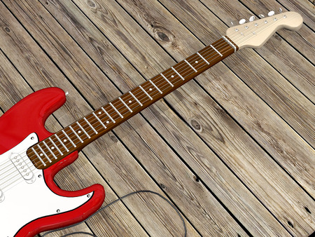 zoomed in: red guitar with wooden background Stock Photo