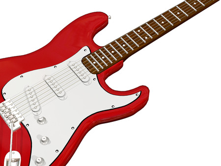 zoomed: close up red guitar with white background