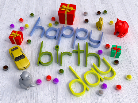happy birth day: happy birth day realistic 3d rendering Stock Photo