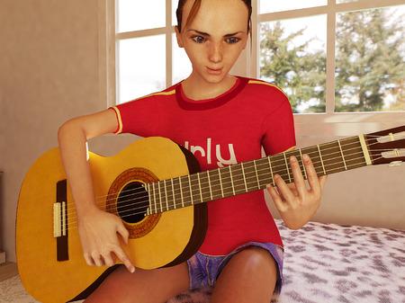 girl playing guitar: girl playing guitar side view 2
