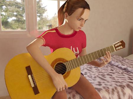 girl playing guitar: girl playing guitar side view 1