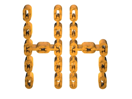 3d letter h with rusty gold chain form