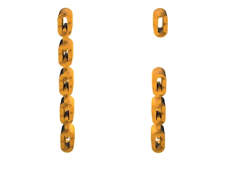 letter i: 3d letter i with rusty gold chain form