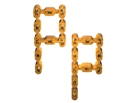 rusty chain: 3d letter p with rusty gold chain form Stock Photo