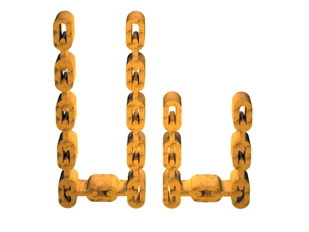 rusty chain: 3d letter u with rusty gold chain form Stock Photo