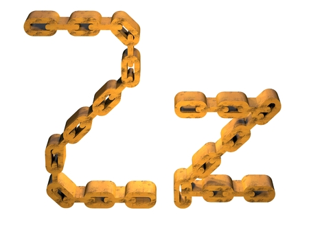 rusty chain: 3D LETTER Z WITH RUSTY GOLD CHAIN FORM