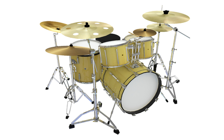 isolated modern yellow drums perspective view 2
