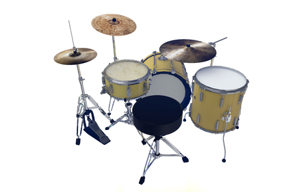 hi hat: simple set of yellow drums back view Stock Photo