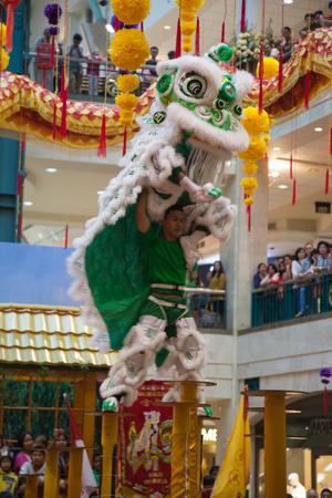 Lion and Dragon Dance Barongsai in Mall Jakarta Indonesia