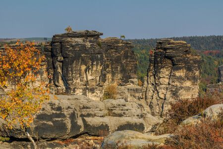 Rocks in the Elbe Sandstone Mountains in autumn. Sunshine and blue sky with trees in Swiss Switzerland. Climbing in the autumn mood and forests