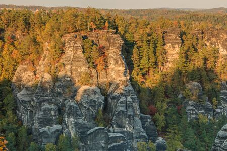 Rocks and trees in Saxon Switzerland. View of forest in the national park from the Elbe Sandstone Mountains in autumn mood. Rock formation in the evening sun and a blue sky 版權商用圖片