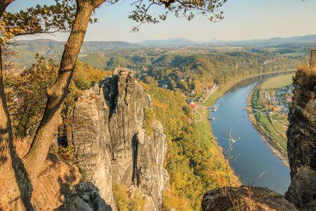 Autumn mood in the Saxon Switzerland National Park. 版權商用圖片