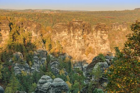 National park in Saxony with trees and rocks.