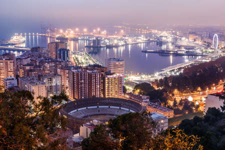 Panorama of Malaga on the Spanish Mediterranean coast at night. View of the city on the Costa del Sol with illuminated harbor, residential buildings, trees, street lamps, ferris wheel, ships