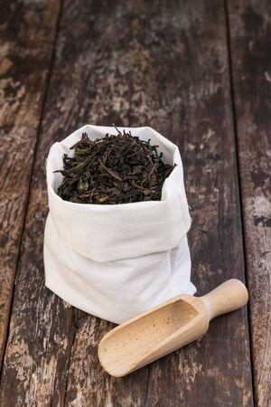dry leaves: Dry tea leaves in bags Stock Photo
