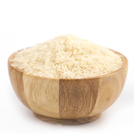 calories poor: jasmine rice  in a wooden bowl