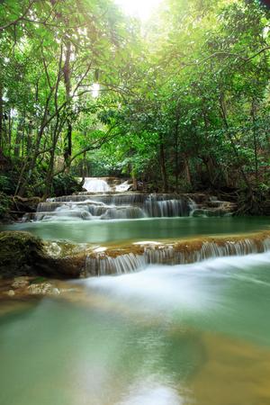 kanchanaburi: Huay Mae Kamin Waterfall, waterfall in autumn forest, Kanchanaburi province, Thailand Stock Photo