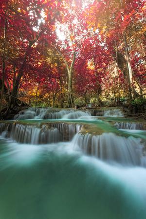 Huay Mae Kamin Waterfall,  waterfall in autumn forest, Kanchanaburi province, Thailand