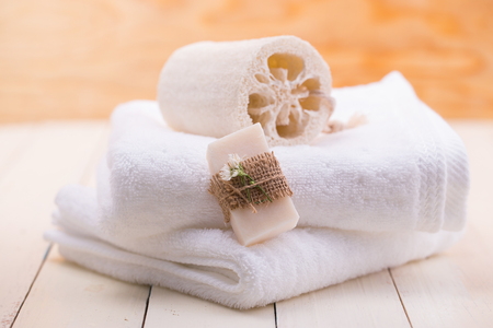 Spa soap on a white towel.