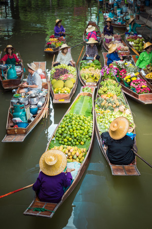 Floating market boats in Thailand.