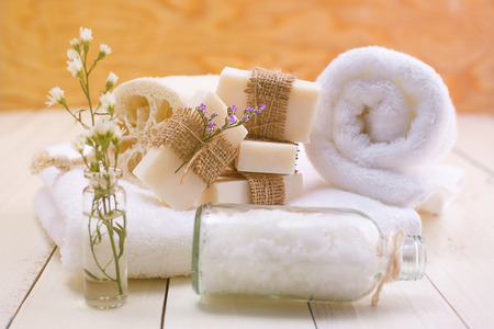 white towel: Spa soap on a white towel.