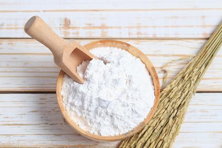 Rice powder in wood bowl
