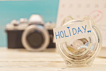 holiday budget: Savings holiday money in a jar Stock Photo