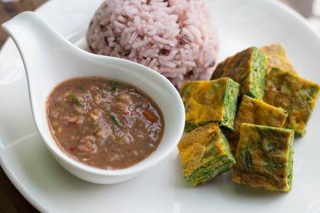 Shrimp Paste Chilli Sauce (Nam Prik Ka Pi) serve with  rice and  vegetable, Thai Food