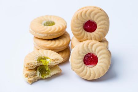 Strawberry and kiwi sandwich cookie isolated Stok Fotoğraf