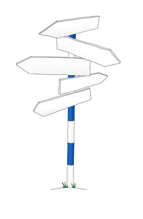 orientate: Sign post with many arrows or signs or waymarks