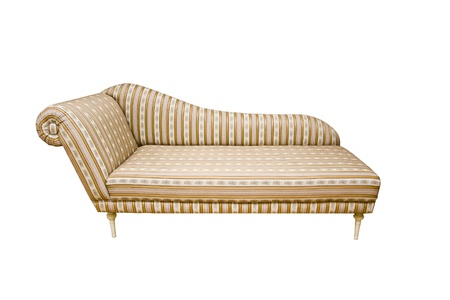 An old fashion sofa with stripes on white background Stock Photo