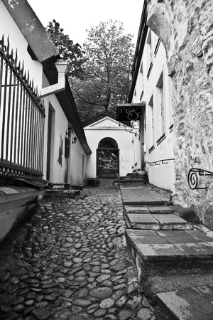 A black and white photo of wet Old Town cobble street in Tallinn, Estonia