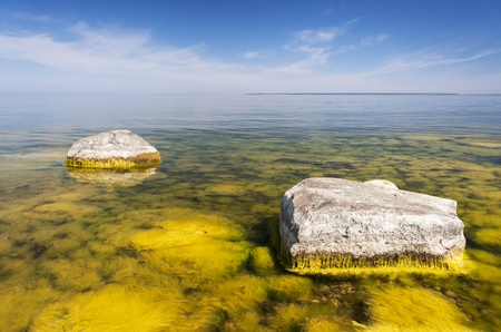 A seashore full of large limestone rocks which are partly covered with yellow algae Stock Photo - 15212649