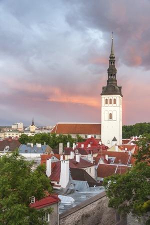 St  Nicholas church in Tallinn, Estonia at sunset photo