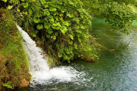 A photo of small waterfalls coming down over tussocks into the pond  The picture is taken in Plitvice, Croatia