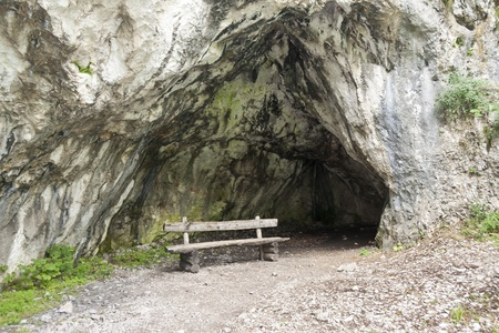 Timber seat in front of cavern