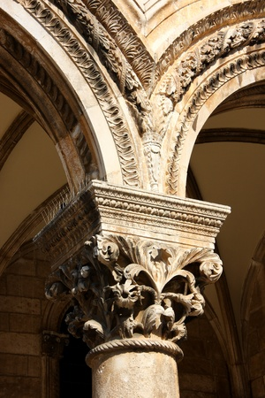 Decorated arc of a building in Dubrovnik, Croatia  Stock Photo